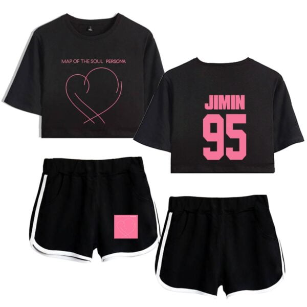 bts crop top and shorts