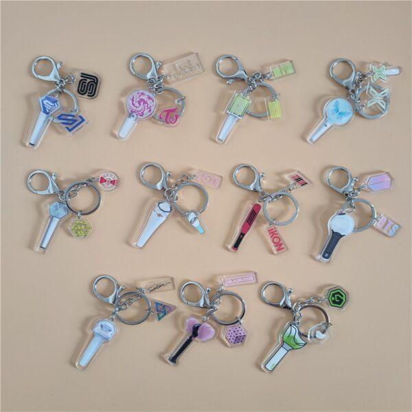 kpop mini lightstick keychains