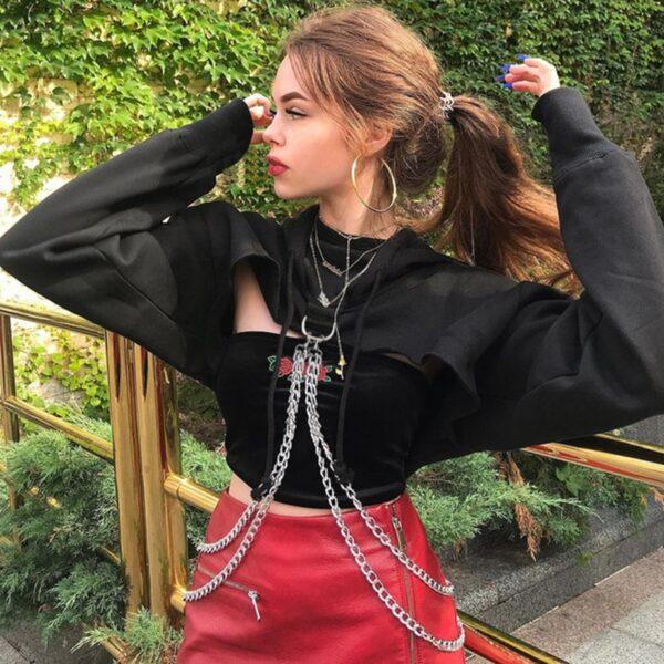 kpop gothic fashion crop tops