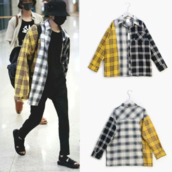 BTS Idol SUGA Plaid T-Shirt