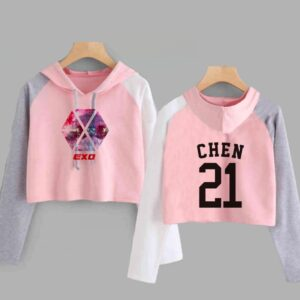 exo crop top hoodies