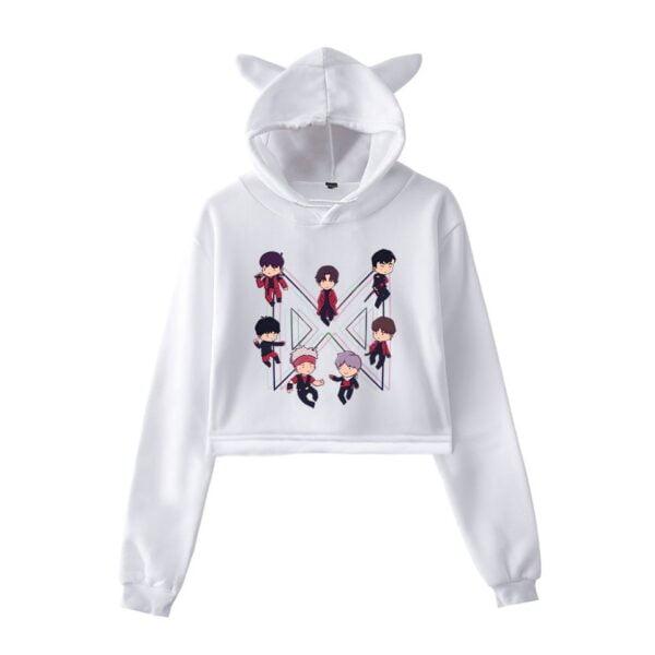 Monsta X harajuku cropped hoodies